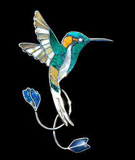 Pin-Pendant of the Marvelous Spatuletail hummingbird in Peru